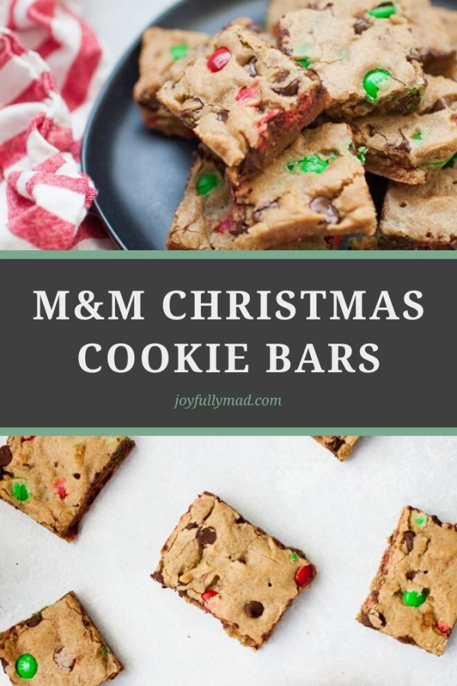 M&M Christmas Cookie Bars