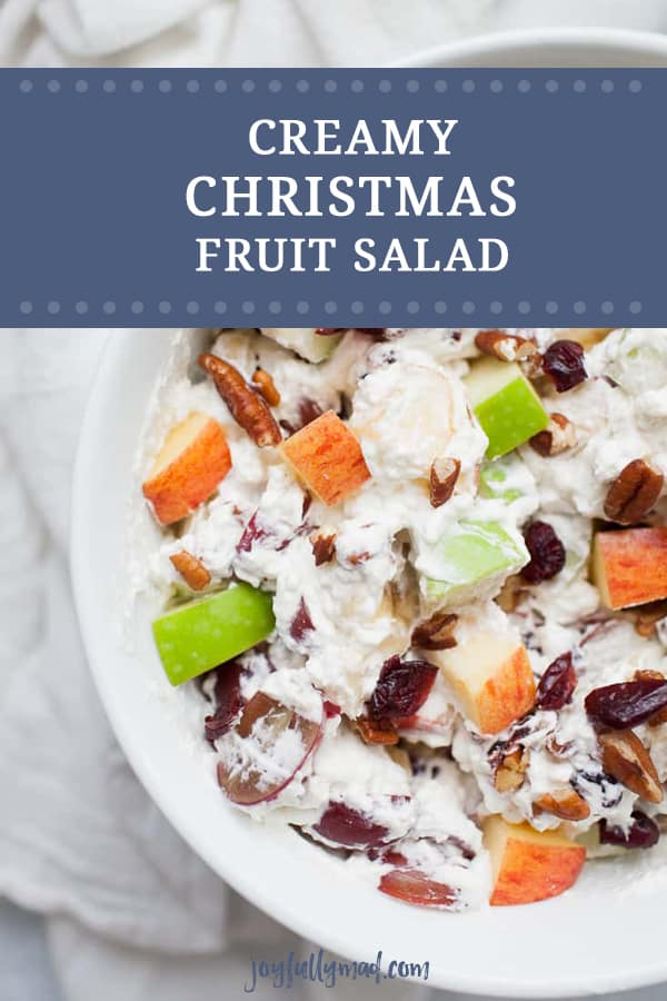 Creamy Christmas Fruit Salad is the perfect side dish for your holiday dinner! Your family will love this winter fruit salad with heavy whipping cream, apples, cranberries, grapes, bananas and pecans.??