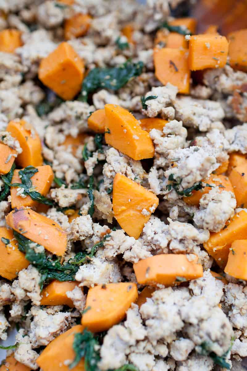 Ground turkey, diced sweet potatoes and spinach.