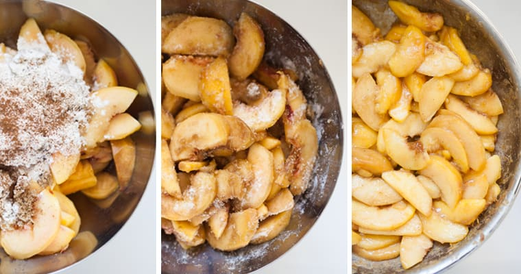 Collage of images shows slices peaches with flour and brown sugar, peaches tossed, and peaches cooked in skillet.