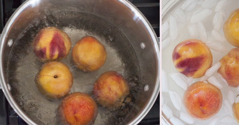 Pot of boiling water with peaches at bottom. Ice bath with peaches in it on right.