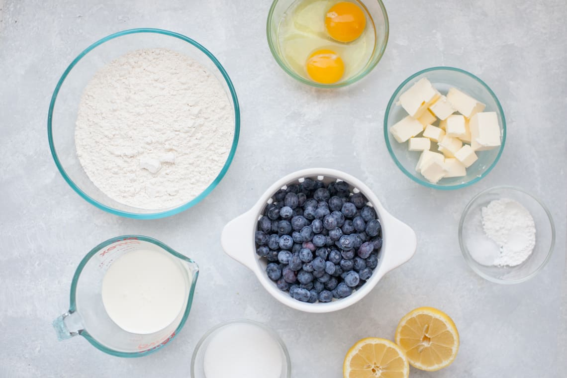 Ingredients for lemon blueberry scones.
