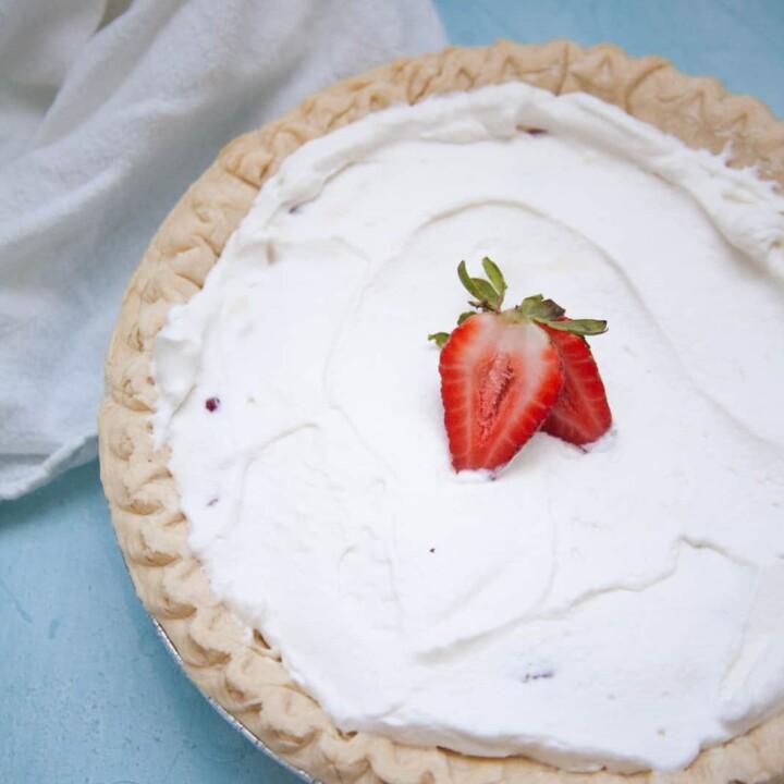 strawberries garnish a no-bake strawberry cream pie